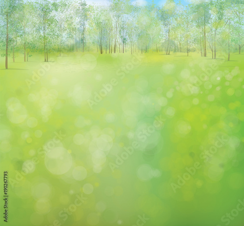 Vector green spring landscape with forest background.