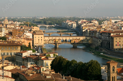 Papiers peints Florence Summer. Italy. Florence. Panoramic view of the city. Ponte Vecchio.