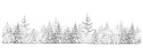 Winter  forest   drawing  in black and white, seamless element, isolated border. © rvika
