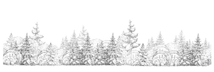 Winter  forest   drawing  in black and white, seamless element, isolated border.