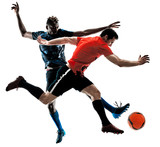 two soccer players men in studio silhouette isolated on white background - 190273742