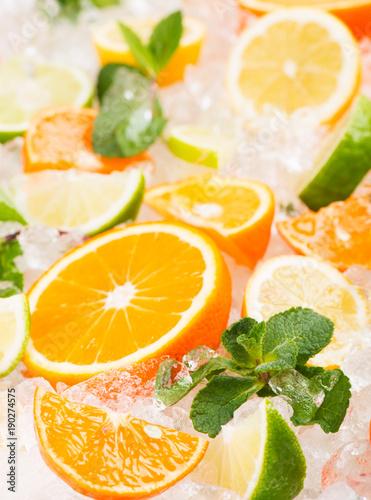 Fresh citrus with ice.