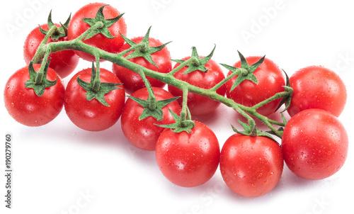 Fotobehang Kersen Branch of cherry tomato on the white background.