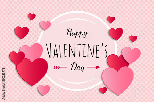 Valentine's Day - glossy card with paper cut hearts. Vector. © Karolina