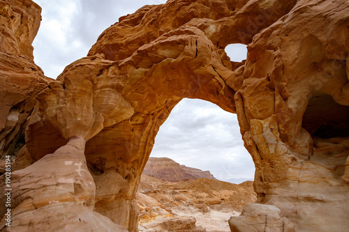 View of rocky landscape in Timna park, Israel
