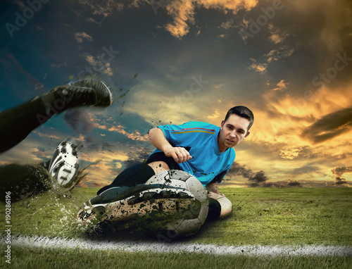 Staande foto Voetbal Soccer players on the field