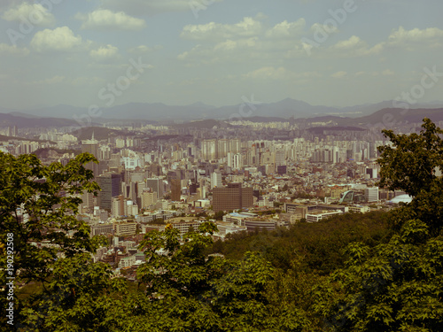 Keuken foto achterwand Seoel Retro styled view of Seoul from the Namsan Mountain, South Korea.