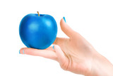 Hand holding blue apple isolated with clipping path - 190293581