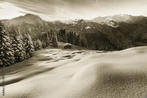 Staande foto Beige Winterlandschaft in den Alpen in sepia