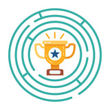 Round maze with a golden cup at the center. The symbol of victory and achievement of the goal. Vector illustration. - 190296725