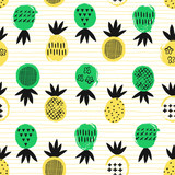 Pineapple tropical seamless pattern. Kid design. Vector illustration. - 190296759