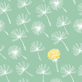 Doodle hand drawn dandelion flowers on blue. Vector seamless minimalistic pattern. Endless pattern for wallpaper, pattern fills, web page background, textures. Hand drawn, botany