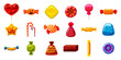 Candy icon set, cartoon style - 190300569