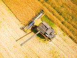 Aerial view of combine harvester on rapeseed field. Agriculture and biofuel production theme. - 190301124