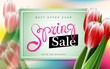 Spring Sale advertising banner with tulips and pretty lettering
