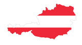 Republic of Austria flag in country silhouette. Landmass and borders as outline, within the banner of the nation in colors red and white. Isolated illustration on white background. Vector. - 190310539