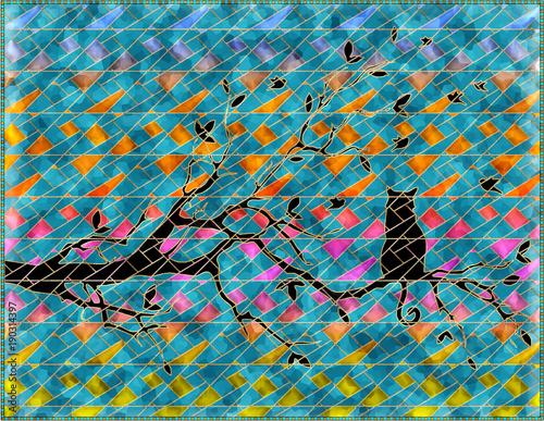 katze-auf-einer-niederlassung-3d-rendering