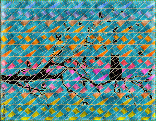 grafika-3d,-kot-na-galezi,-kolorowe-tlo