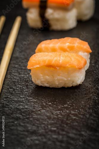 Foto op Plexiglas Sushi bar Sushi rolls nigiri