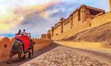 Amer Fort Jaipur - Tourists enjoy elephant ride at sunrise - 190327104