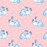 Seamless pattern with white rabbits 4 - 190327573