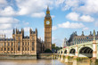 London city travel holiday background. Big Ben and Houses of parliament with Westminster bridge in London, England, Great Britain, UK. - 190339535