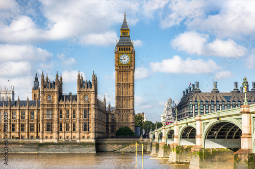 Fotobehang Londen London city travel holiday background. Big Ben and Houses of parliament with Westminster bridge in London, England, Great Britain, UK.