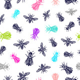 seamless vector pattern with bees. bees with eye. occult bees and fly. - 190339911