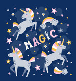 Unicorn magic vector greeting card. Magic background. - 190340559