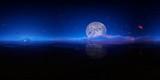Panorama 360° con luna piena e pianeti fluttuanti su pianeta alieno
