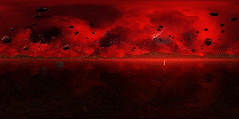 Panorama 360° con tramonto rosso su pianeta alieno