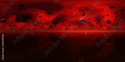 Panorama 360° con tramonto rosso su pianeta alieno - 190349390