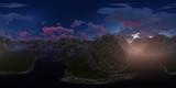 Panorama 360° con tramonto rosa su lago in montagna - 190349980