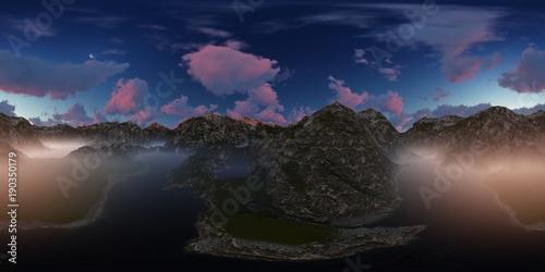 Fotobehang Zwart Panorama 360° con tramonto rosa su lago in montagna