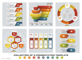 Collection of 6 design colorful presentation templates. EPS10. Set of infographics design vector and business icons. - 190352335
