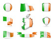 Ireland Flags Collection. Flags and contour map. Vector illustration - 190352957