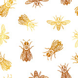 seamless vector pattern with bees. bees with eye. occult bees and fly. gold insect. - 190353141