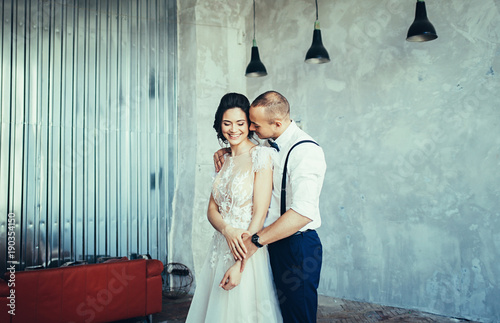 Young wedding couple in love have fun i on st valentines day