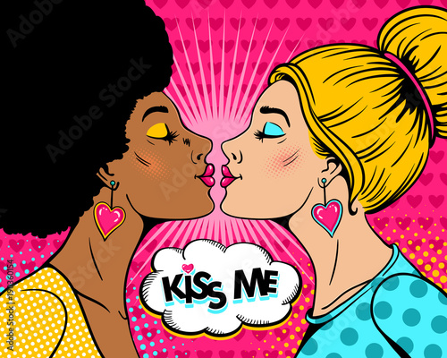Wow Female Couple Two Sexy Blonde And Afro Women In Profile Stretch To Each Other For Kiss And Kiss Me Speech Bubble Vector Background In Retro Pop Art