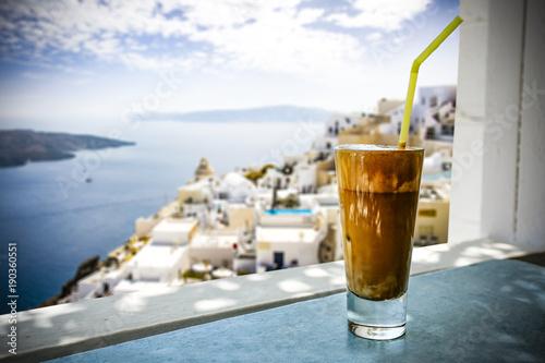 Foto op Canvas Santorini frappe and greece