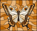 Illustration in stained glass style with  butterfly ,monochrome tone brown