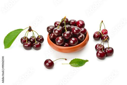 Fotobehang Kersen appetizing cherry isolated on white background