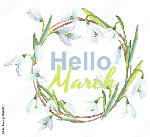 Watercolor snowdrop wreath, Hello March