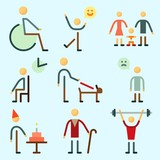 Icons set about Human with sportsman, sad man, family, bodybuilder, child and waiting room - 190373736