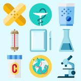 Icons set about Medical with surgery, worldwide, pill, microscope, patch and test tube - 190373790