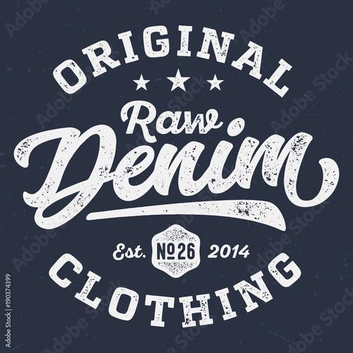 Original Raw Denim Clothing - Vintage Tee Design For Print