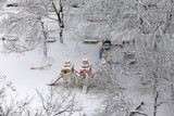 Deserted children's playground covered with snow - 190375754