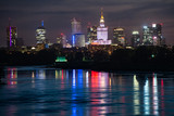 Night panorama of Warsaw waterfront and downtown skyline