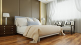Doppelbett im Hotelzimmer im Vintage Look - 190392355