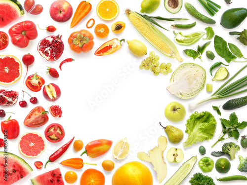 Frame of various vegetables and fruits isolated on white background with empty space for text, top view, flat lay. Concept of healthy eating.  - 190396340